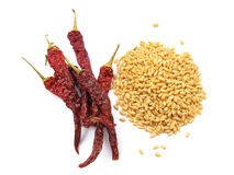 Wheat and Chillies Royalty Free Stock Photography