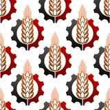 Wheat and a cog wheel seamless pattern Royalty Free Stock Photo