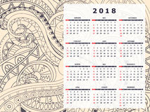 Wheat color tangle zen pattern calendar year 2018. Business english calendar for wall on year 2018 on the gradient background with hand drawn tangle zen pattern Royalty Free Stock Images