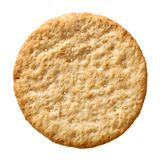 Wheat cracker isolated. Top view wheat cracker. A single piece whole meal oat biscuit isolated on white background royalty free stock photo