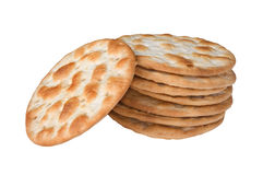 Wheat crackers. Some wheat crackers isolated on white background stock photography