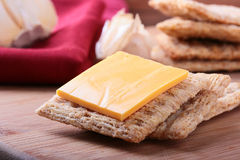 Wheat crackers with cheese Royalty Free Stock Photography