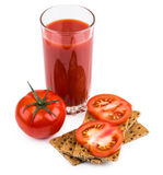 Wheat crisp bread and tomato juice in glass isolated on white Stock Photography