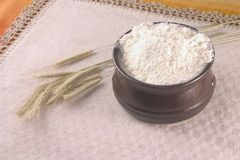 Wheat crops and a bowl filled up with flour. Placed on a beige table Stock Image