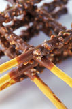 Wheat crossed sticks with chocolate Stock Photo