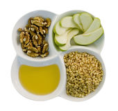 Wheat diet. With wheat, apples, honey, walnuts isolated Stock Images