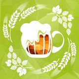 Wheat ear and beer Stock Photography