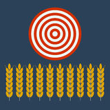 Wheat ear blowing under target Stock Photography