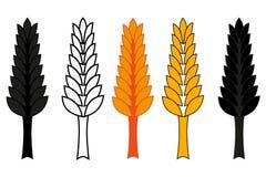 Wheat ear icon set,  barley ear vector illustration Royalty Free Stock Images