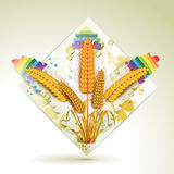 Wheat ears. Over floral shapes Royalty Free Stock Image