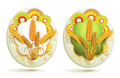 Wheat ears. With colored circles Stock Images