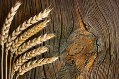 Wheat ears. On the wood background Stock Photo