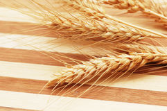 Wheat ears. On the striped wooden background Stock Images