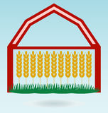 Wheat ears, Barn house. Crop symbol. Stock Image