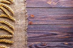 Wheat ears border on old burlap background Stock Images