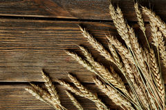 Wheat ears on brown wooden background Royalty Free Stock Photo