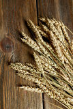 Wheat ears on brown wooden background Royalty Free Stock Images