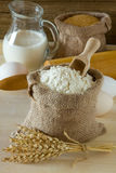 Wheat ears and flour. In burlap sack Royalty Free Stock Photography