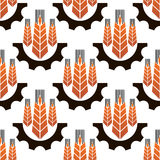 Wheat ears in gear wheels seamless pattern. Ripe orange wheat ears in gear wheels seamless pattern on white background, for agriculture or industrial theme Stock Image