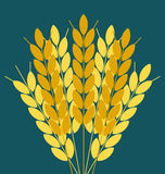 Wheat ears or rice icon. Crop symbol. Design element for bread packaging or beer label. Agricultural Stock Photos