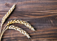 Wheat ears on the wooden table Royalty Free Stock Images