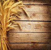 Wheat Ears. On the Wooden Table. Harvest concept Stock Photos