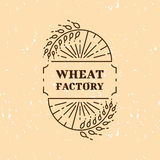Wheat factory field logo line art icon Royalty Free Stock Images
