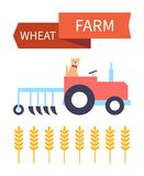 Wheat Farm Poster with Tractor Vector Illustration royalty free illustration