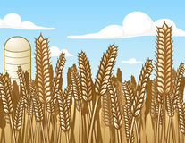 Wheat Field. This is an illustration of a field of wheat with a silo in the background Royalty Free Stock Photos