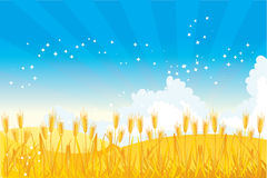 Wheat field. Vector illustrated golden whead field Stock Image