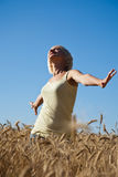 In wheat field royalty free stock photo