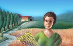 Wheat field. Peasant girl holding some wheat. On the background a picturesque italian farmland. Hand painted illustration, digitally enhanced stock illustration