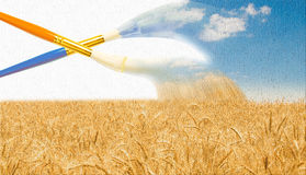 Wheat field drawn with brush Royalty Free Stock Images