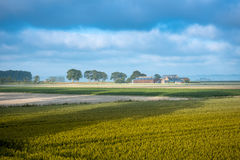 Wheat field and farm in autumn, France Royalty Free Stock Photo
