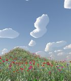 Wheat field with flowers. 3d image Royalty Free Stock Images