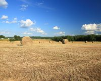Wheat field. Harvested wheat field in eastern Missouri with straw bales Stock Image
