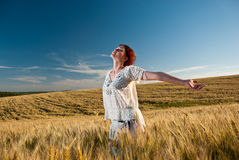 Wheat field joy Stock Image