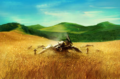 Wheat field with robot. Royalty Free Stock Photos