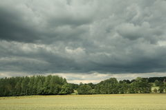 Wheat field and stormy sky. In Aisne, Picardie region of France stock photos