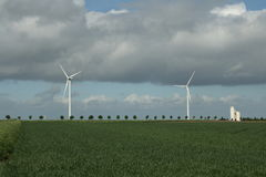 Wheat field and wind mill in France. Wheat field and wind mill in Somme , Picardie north of france stock image