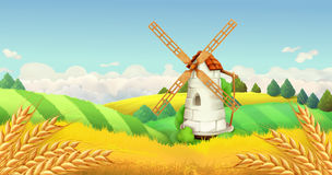 Wheat field. Windmill landscape. Vector background Royalty Free Stock Photography