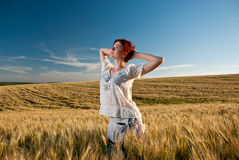 Wheat field woman Stock Photo