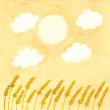 Wheat fields. Acryilic illustration of Wheat fields Stock Images
