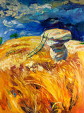 Wheat fields. Original oil painting of stormy sky over wheat fields  on canvas.Rocks and ladder.Modern Impressionism Stock Photo