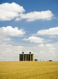 Wheat fields, silo, clouds. Harvested field with grain silo and fluffy white clouds Royalty Free Stock Images