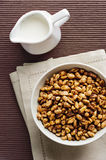 Wheat flakes with milk, breakfast Stock Image