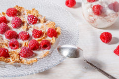 Wheat flakes with raspberries and milk. Wheat flakes with raspberries and milk, selective focus Royalty Free Stock Image