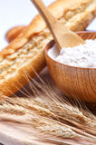 Wheat and flour. Close up Stock Photography
