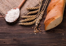Wheat, flour and bread Royalty Free Stock Images