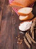 Wheat, flour and bread Royalty Free Stock Photos